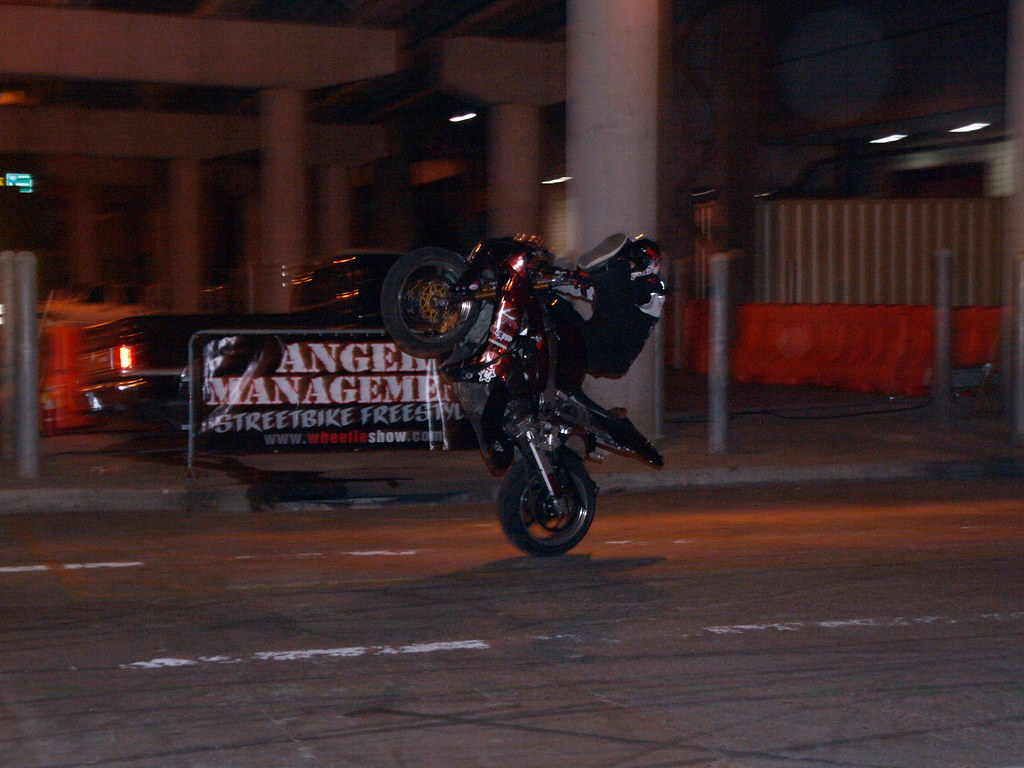 Houston Texas George R Brown Convention Center 51th Annual O'Reilly Auto Parts Autorama Anger Management Motorcycle Street Extreme Freestyle Stunt Show November 27 2010 Tricks wheelies No-Hander Stopp