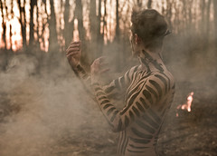 The Signal (Rob Woodcox) Tags: sunset black nature leaves forest fire paint spirit stripes smoke tribal burn tribe signal goldenhour 52weeks robwoodcox robwoodcoxphotography
