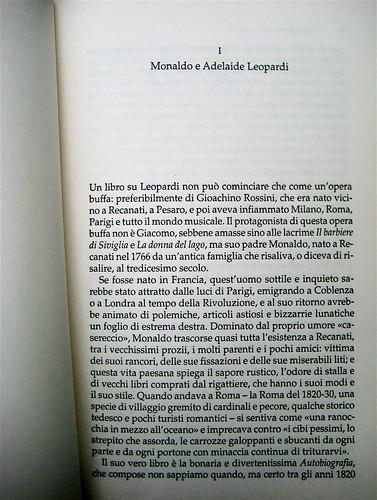 Pietro Citati, Leopardi, Mondadori 2010; art dir.:Giacomo Callo, graph. designer:Cristina Brazzoni; incipit (part.), 1