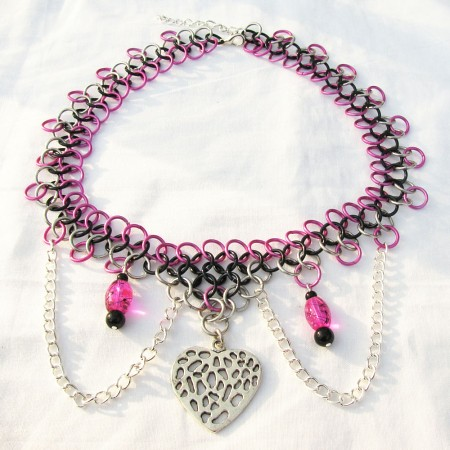 Black And Silver. Heart of Romance - Hot Pink, Black, and Silver Chainmaille Necklace