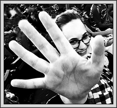 There are moments (Bob R.L. Evans) Tags: smile hand fingers blackandwhite humor ipadphotography unusual glasses