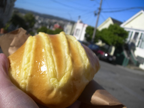 brioche, with vanilla custard inside, a la Sandbox Bakery, Bernal Heights, SF