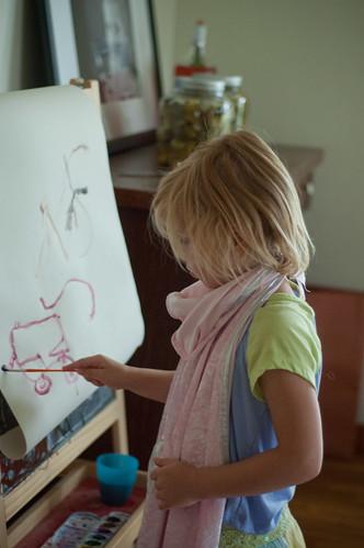 She paints.