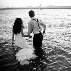Missed the Boat (Simple Insomnia) Tags: ocean seattle wedding blackandwhite bw mountains monochrome boat dress marriage pugetsound goldengardenpark trashthedress