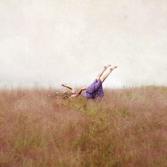 the trouble with learning to fly. (karrah.kobus) Tags: flowers girl field canon outside 50mm flying dress purple crash feathers learning firsttime awesomepurpletumbleweeds