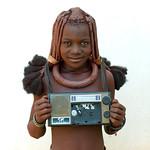 Himba girl with her radio - Angola
