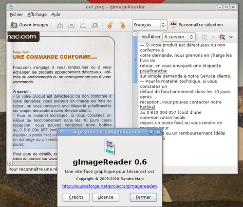 gImageReader 0.6 en action
