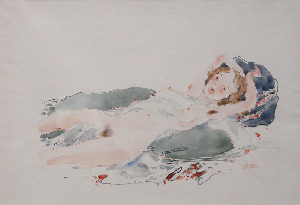 Otto Rudolf Schatz, Liegender Mädchenakt [Reclining Nude, Girl], c 1950
