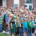 On the first day of the new school year, Indian Lake Central has a school photo taken out front.  Photo: George DeChant.