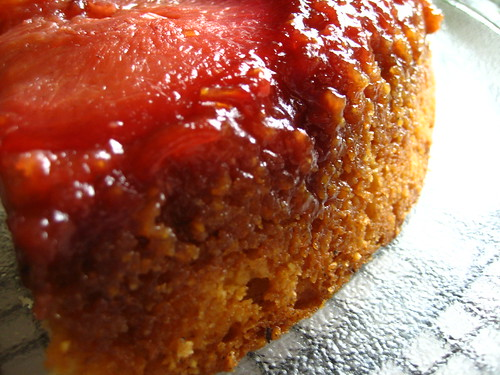 pluot upside-down cornmeal cake