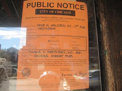 Public Notice, Liquor License Applicaiton > George Street Pub, 2858 North Halsted Street