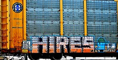 Hires (mightyquinninwky) Tags: railroad logo graffiti moving character tag graf tracks railway tags tagged stamp hires railcar rails buff graff graphiti freight bnsf rolling stamped 2010 inmotion buffed carcarrier trainart autorack holyroller rollingstock paintedtrain fr8 railart burlingtonnorthernsantafe spraypaintart freightcar paintedsteel freightart ttgx autoraxx paintedrailcar taggedrailcar autorax 11223344556677 carfireonflickr charactersformyspacestation