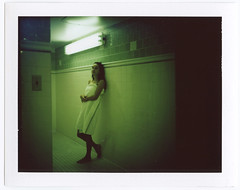 - (alexis mire) Tags: green girl polaroid bathroom towel etc mamiyarb67 dustspots fujifilmcolor alexismire