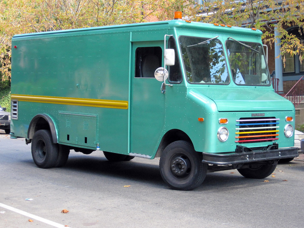 Turquiose Grumman Step Van with Rainbow Grill