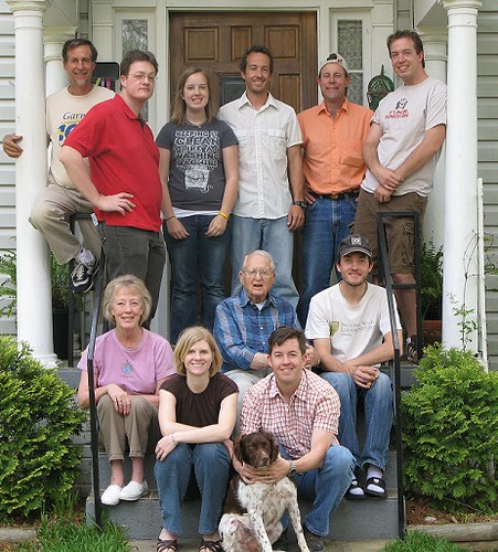 Image of Jeff Behringer and his family of six grown children, a family supported mainly by Jeff Behringer and his stone masonry company