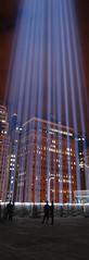 Tribute In Light (darkjeans) Tags: lighting nyc windows light sky urban silhouette night buildings memorial nightscape towers 911 searchlight glowing wtc tribute beams tributeinlight sep11
