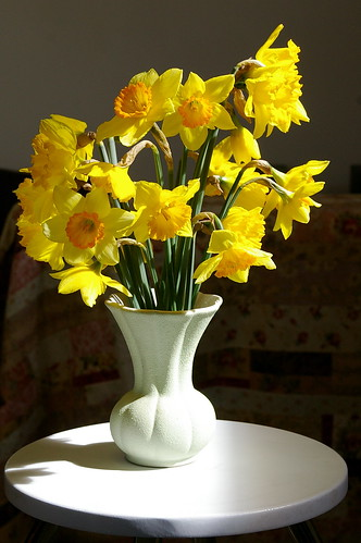 daffs with floral quilt behind