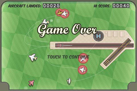 iPhoneゲーム「FlightControl」ゲームオーバー画面