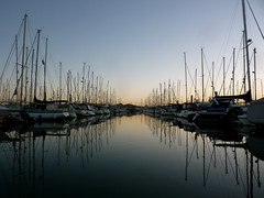 Avenue of masts (allispossible.org.uk) Tags: morning blue light seascape reflection nature beautiful beauty port sunrise reflections mirror harbor sailing peace natural harbour horizon perspective tranquility sunny calm symmetry september clean clear crisp serenity symmetric stillwater hafen masts tranquil refelction distant lymington yachting schönheit mirroring calmwaters