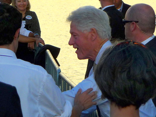 President Clinton Greets Supporters