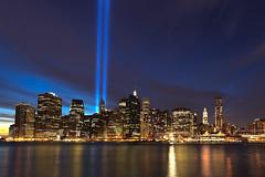 Tribute in Light HDR (Shane Woodall) Tags: newyork brooklyn lights memorial worldtradecenter 911 september wtc hdr towersoflight tributeinlight 2010 brooklynbridgepark canon5dmarkii septenber11th