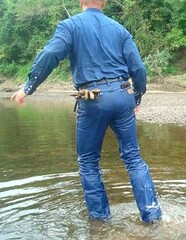 06 WS Going in for more soaking pleasures (Wrangswet) Tags: swimming river wading riverhike swimmingfullyclothed wetmen riverswimming wetboots guysinwetjeans wetcowboy wetcowboys swimminginjeans wetcowboyboots wetwranglerjeans cowboybootsspurs wetspurs menswimmingfullyclothed