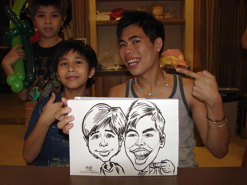 Caricature live sketching for birthday party 11092010 - 11