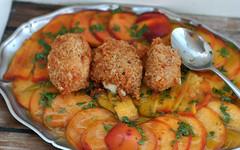Pfirsich-Carpaccio mit Mandel-Mozzarella