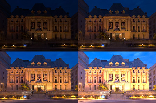 Saint Louis University, in Saint Louis, Missouri, USA - Saint Louis University Museum of Art at dawn - side-by-side composite of 4 exposures