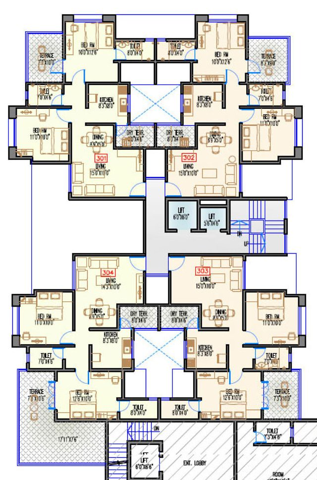 Navjeevan Properties'  Blue Bells, 2 BHK Flats opposite Pu La Deshpande Udyan on Sinhagad Road Floor Plan - 3rd floor