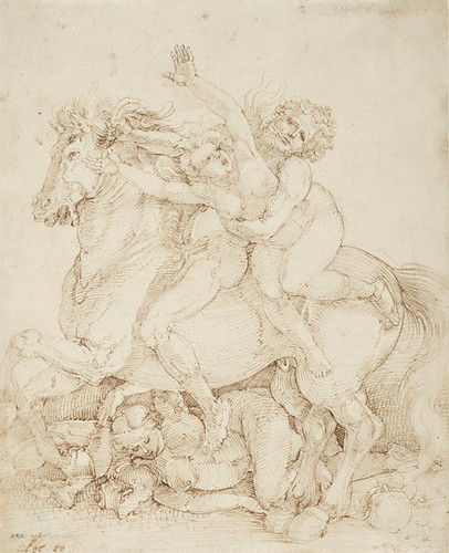 Albrecht Dürer, Abduction on Horseback, 1516, Pen and brown ink