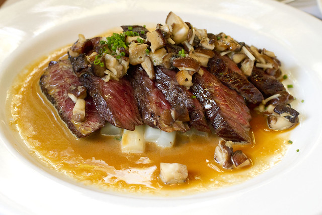 Hanger Steak with White Asparagus and Shitake Mushroom