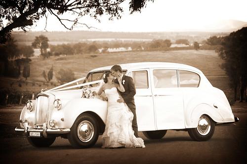 Studio Valentine Photography - Bride & Groom with a Princess Car
