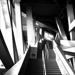 diasyndesis (helen sotiriadis) Tags: china monochrome architecture stairs canon stadium perspective beijing rail structure canon350d olympics escher canonrebelxt connection birdsnest escheresque nationalstadium canonefs1022mmf3545usm