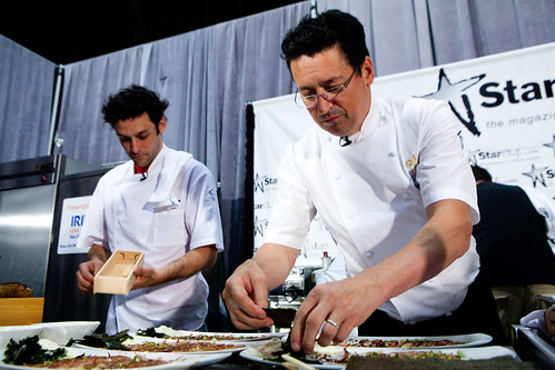 Chef Normand Laprise and Chef de cuisine Charles-Antoine Crete of Toqué!,  Montreal