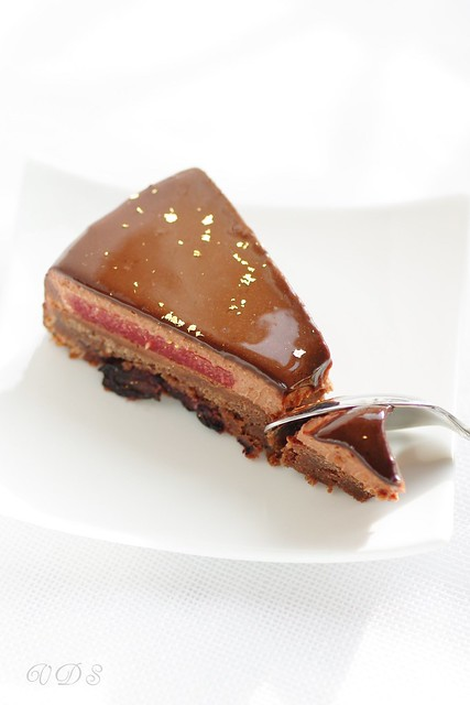 Chocolate, raspberries and pepper entremets