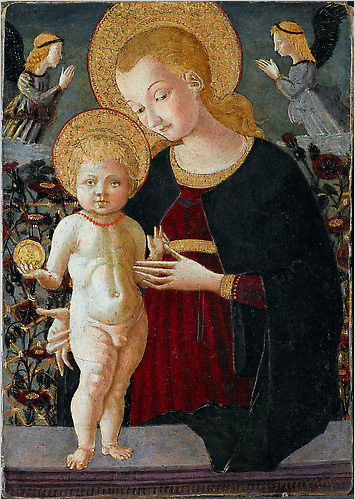 Virgin and Child  with Two Angels circa 1460–70, follower of Paolo Uccello