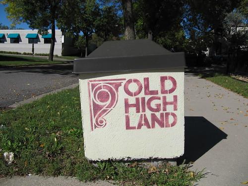 Old Highland Sign on Trash Can