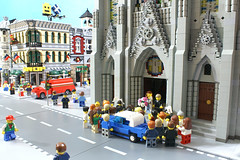 Wedding Bells (SavaTheAggie) Tags: street wedding party church st bells francis town catholic lego cathedral scene christian block