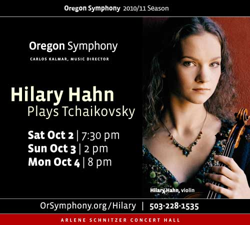 The Oregon Symphony proudly features the long-awaited Portland debut of violin virtuoso Hilary Hahn