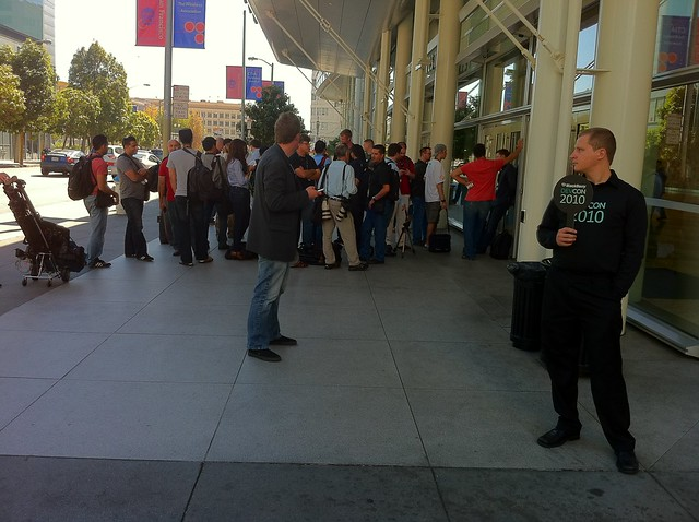 Press gathering in front of Moscone West for BlackBerry Devcon keynote