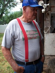 Red Suspenders (altagato) Tags: blue red outdoors candid grandpa suspenders levis