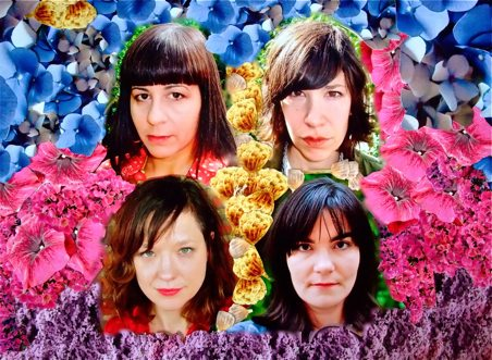 the faces of the women of Wild Flag photoshopped over a colorful flower collage