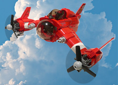 Red Zephyr (JonHall18) Tags: plane fighter lego aircraft fantasy scifi vehicle moc skyfi dieselpunk dieselpulp
