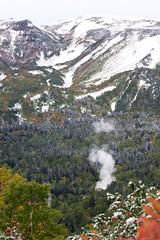 湯気が上がるヤンベ温泉