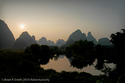 Yangshuo sunset, Guilin District