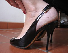 Sara's rough heels in varnish high heel slingbacks (al_garcia) Tags: smelly sandals high heel shoes chanel slingbacks feet cracked calloused stiletto toenails