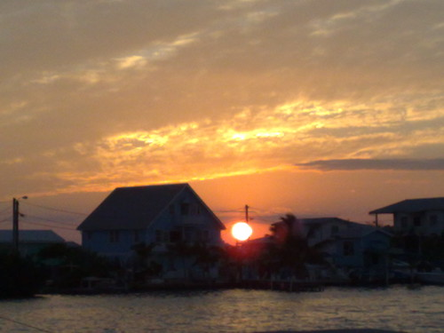 Sunset over Ambergris Caye