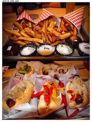 Wurstküche (Alli Jiang) Tags: food germany pepper photography restaurant photo hotdog yummy sauce flash sausage delicious eat fries german dining dine bun dipping gastropubs wurstküche allijiang toppingexotic wurstkÿche