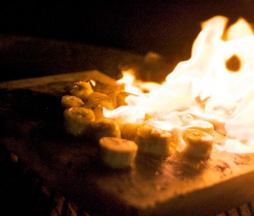 Dessert grilling on salt block